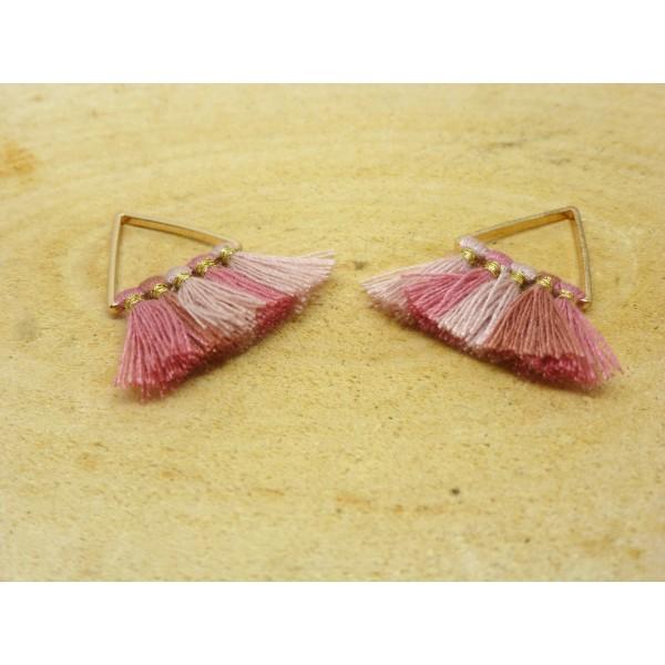 2 Breloques pompons triangle 25*25mm - dégradé de rose et doré - Photo n°1