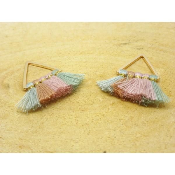 2 Breloques pompons triangle 25*25mm - gris, rose, vert et doré - Photo n°1
