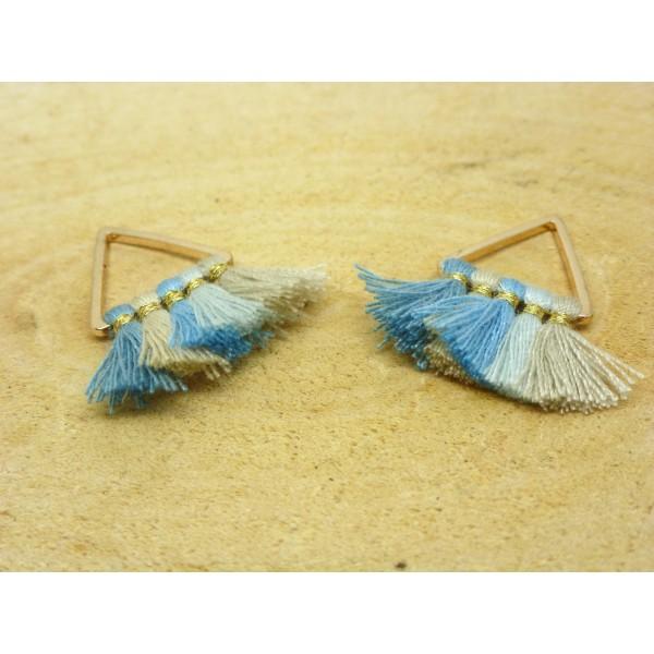 2 Breloques pompons triangle 25*25mm - bleu, beige et doré - Photo n°1