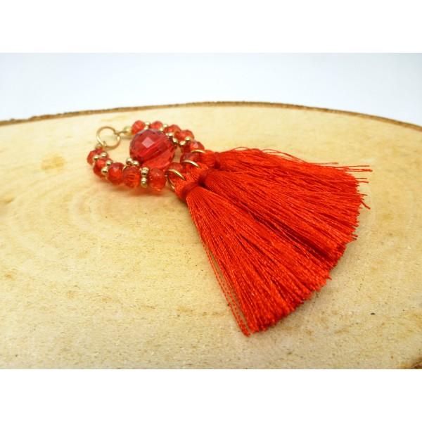 1 Pendentif à franges, pompon et perles rouge 8*6cm forme goutte - Photo n°1
