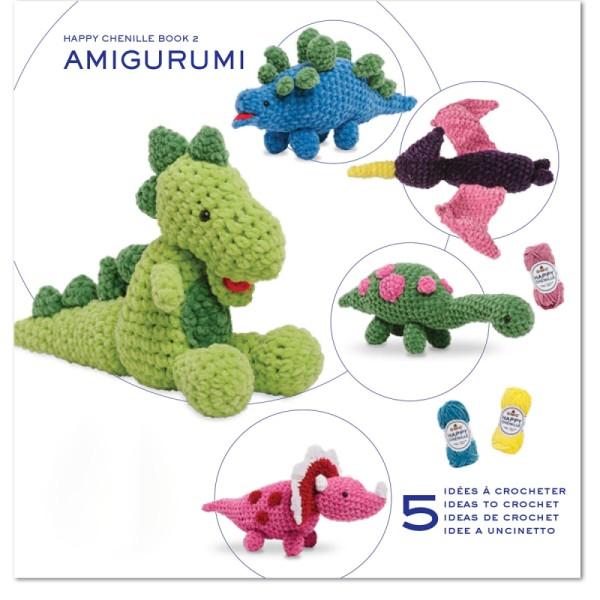 Livre crochet Amigurumi - Happy Chenille Book 2 - Dinosaures - 5 modèles - Photo n°1