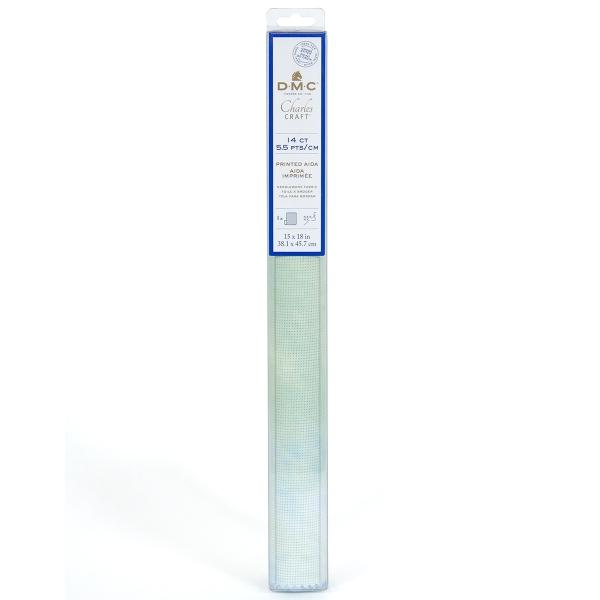 Toile à broder Aida imprimée - Vert/Bleu - 38,1 x 45,7 cm - 5,5 pts/cm - Photo n°1