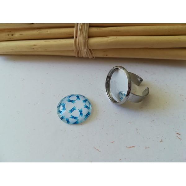 Kit bague platine avec cabochon verre 18 mm imprimé bleu blanc - Photo n°1