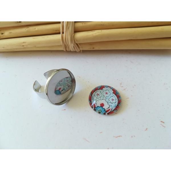 Kit bague platine avec cabochon verre 18 mm imprimé bleu, rouge et blanc - Photo n°1