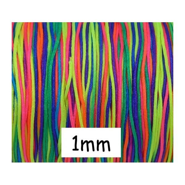 10m Fil De Jade 1mm Multicolore Fluo Vif Rose, Jaune, Vert, Violet Idéal Bracelet Wrap - Photo n°1