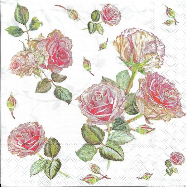 4 Serviettes en papier Fleurs Roses Format Lunch Decoupage Decopatch 13313000 Ambiente - Photo n°2