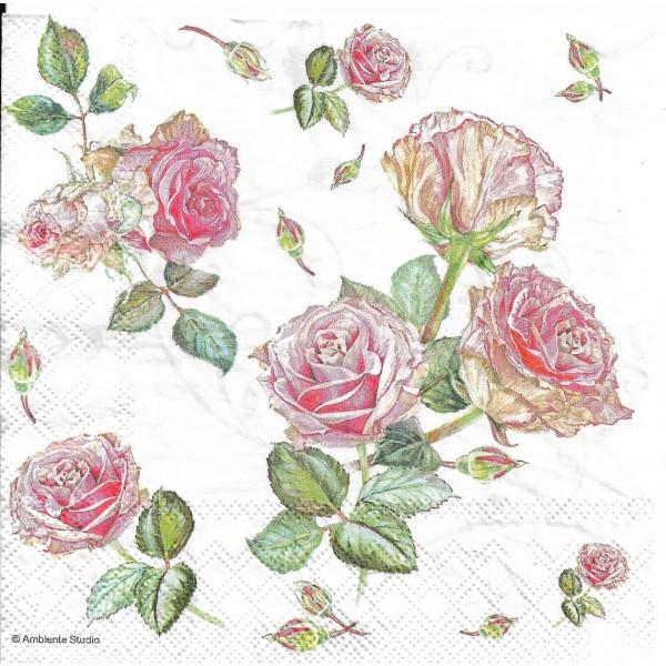4 Serviettes en papier Fleurs Roses Format Lunch Decoupage Decopatch 13313000 Ambiente - Photo n°1