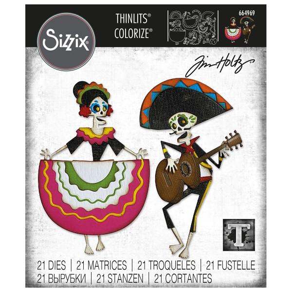 Matrice Sizzix Thinlits - Squelettes mexicains - 21 pcs - Photo n°1