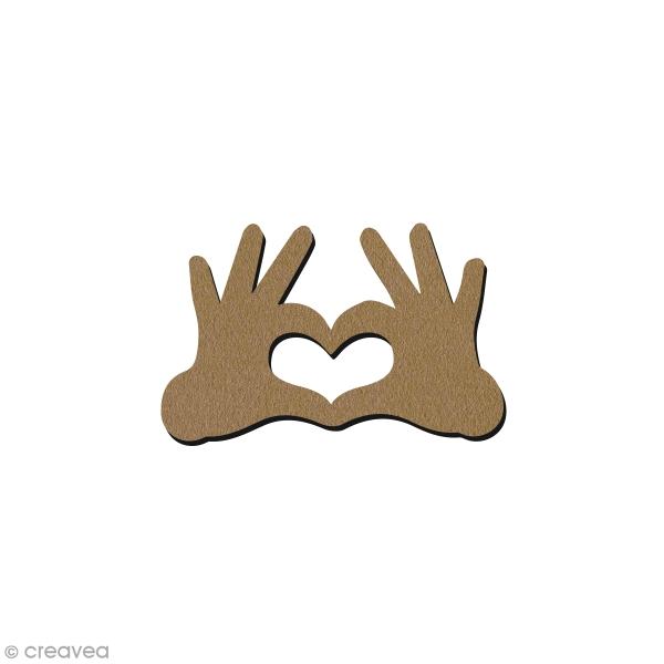 Coeur avec les doigts en bois - Petit modèle - 7 x 4,4 cm - Photo n°1
