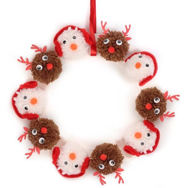 Kit Couronne de Noël en pompons - 25 cm de diamètre - Photo n°2
