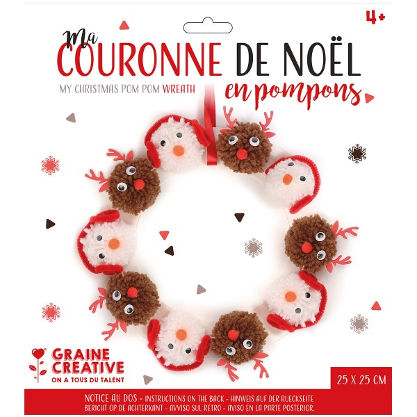 Kit Couronne de Noël en pompons - 25 cm de diamètre - Photo n°3
