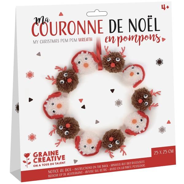 Kit Couronne de Noël en pompons - 25 cm de diamètre - Photo n°1