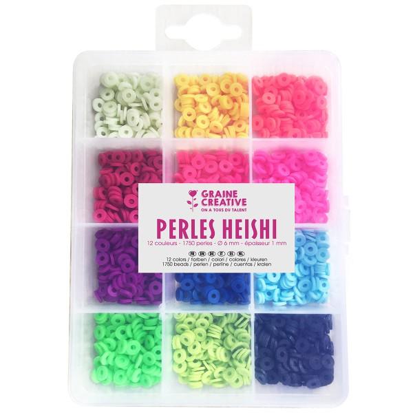 Assortiment de perles Heishi - Fluo - 1750 perles - Photo n°1