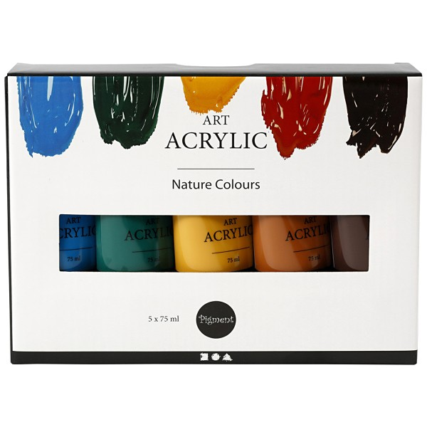Peinture acrylique mate - Pigment Art Acrylic - Couleurs Nature - 5 x 75 ml - Photo n°2