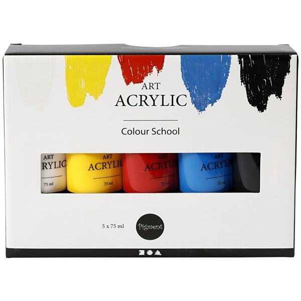 Peinture acrylique mate - Pigment Art Acrylic - Couleurs Primaires - 5 x 75 ml - Photo n°2