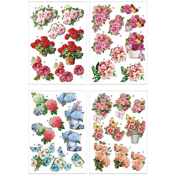 Die cut 3D - Fleurs et Papillons - 4 feuilles - Photo n°1