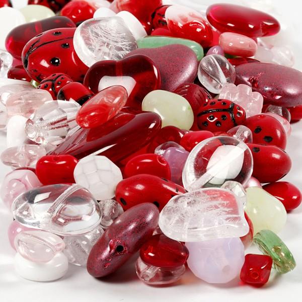 Assortiments de perles en verres - Coeurs et coccinelles - 350 g - Photo n°1