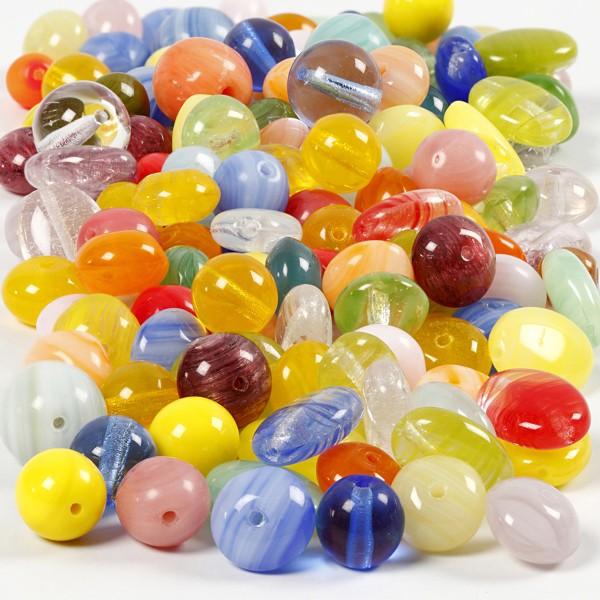 Assortiments de perles en verres - Multicolores - 350 g - Photo n°1