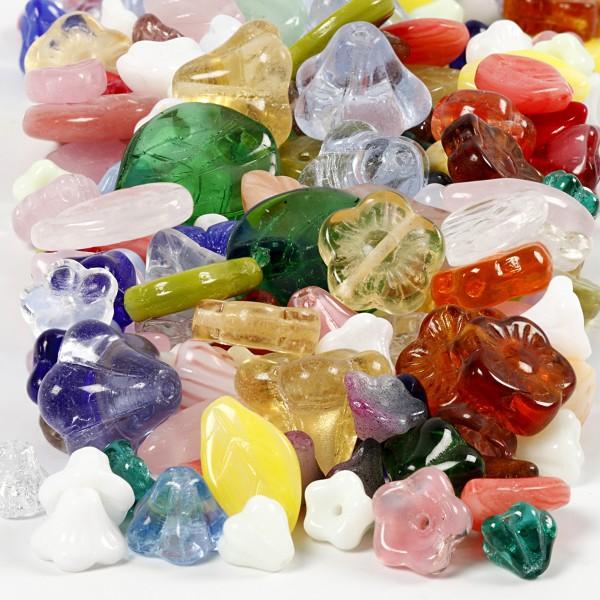 Assortiments de perles en verres - Fleurs et Feuilles - 350 g - Photo n°1