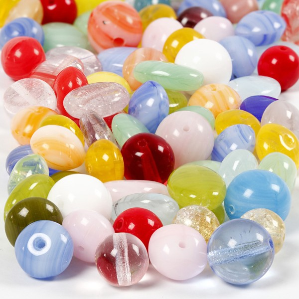 Assortiments de perles en verres - Multicolores - 60 g - Photo n°1