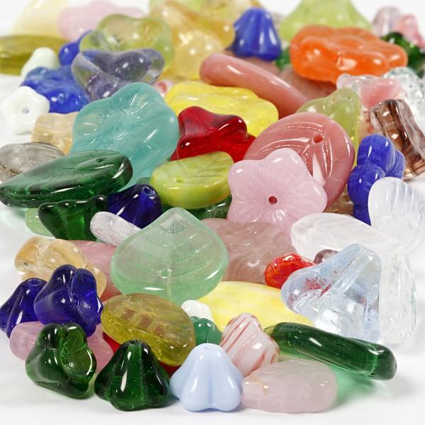 Assortiments de perles en verres - Fleurs et Feuilles - 60 g - Photo n°1