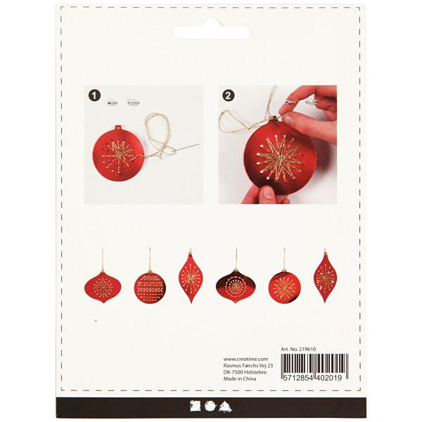 Suspensions de Noël à broder - Rouge métallique - 8 pcs - Photo n°3