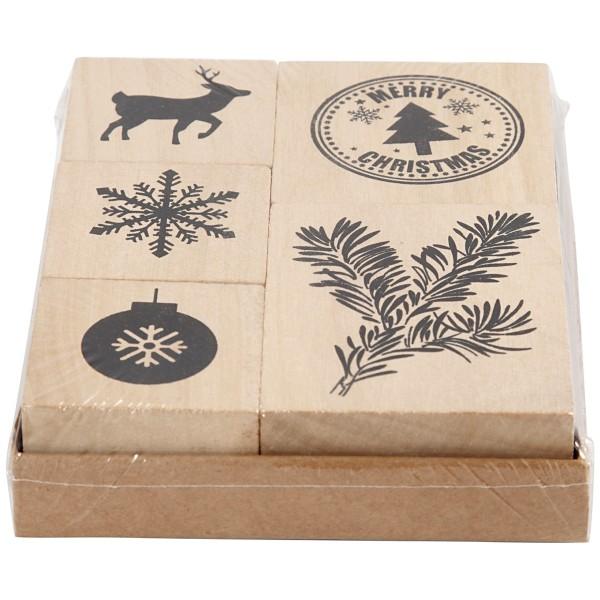 Lot de tampons en bois - Noël - 5 pcs - Photo n°2