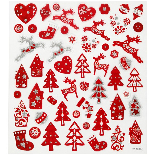Stickers Noël Creotime - Noël Rouge et blanc - 54 pcs - Photo n°1