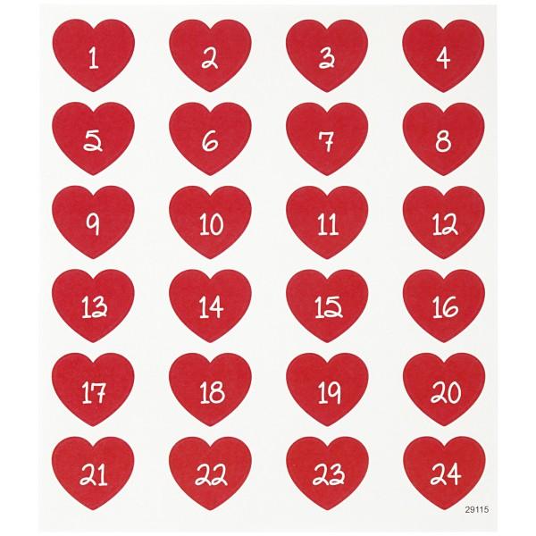 Stickers Noël Creotime - Calendrier de l'avent Coeurs rouges - 24 pcs - Photo n°1
