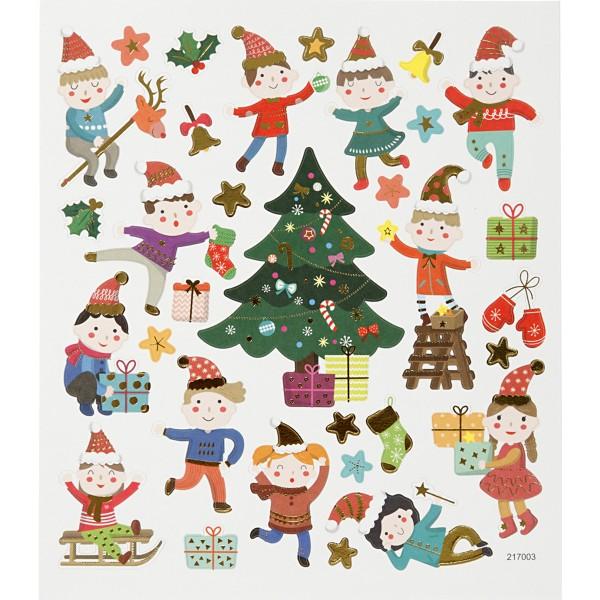 Stickers Noël Creotime - Les enfants et Noël - 32 pcs - Photo n°1