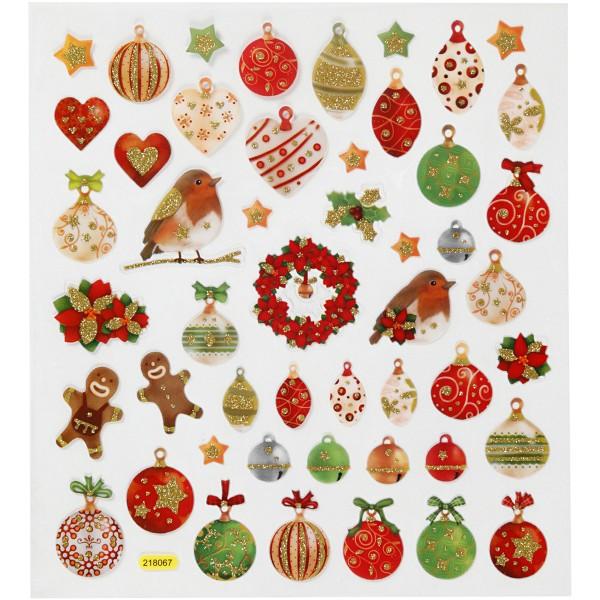 Stickers Noël Creotime - Décorations de Noël - 50 pcs - Photo n°1