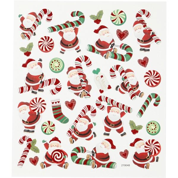 Stickers Noël Creotime - Père Noël et sucres d'orge - 31 pcs - Photo n°1
