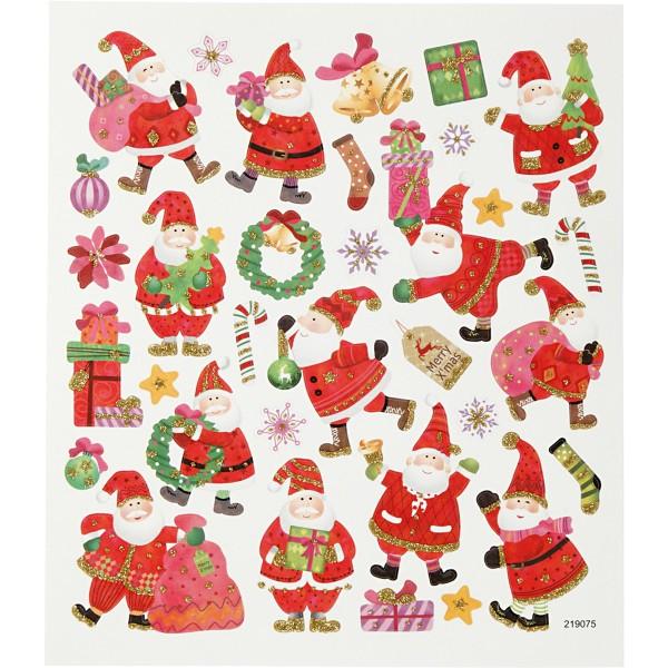 Stickers Noël Creotime - Père Noël et joyeux - 33 pcs - Photo n°1
