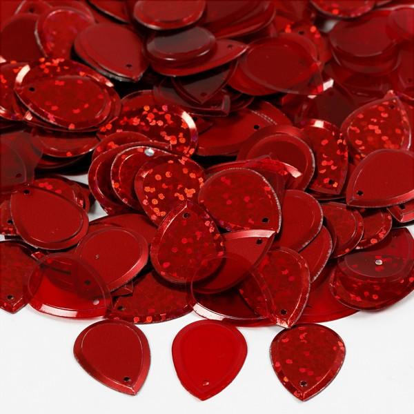 Sequins gouttes - Rouge - 1,4 x 1,9 cm - 50 gr - Photo n°2