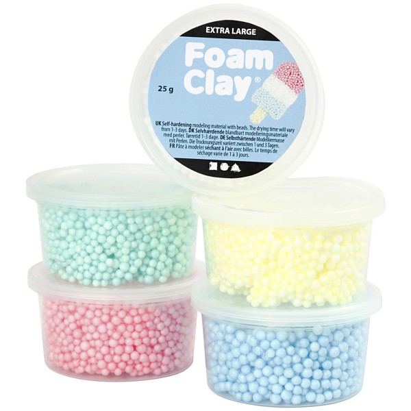 Assortiment pâte à modeler autodurcissante - Extra Large Foam Clay - Pastel - 5 pcs - Photo n°1