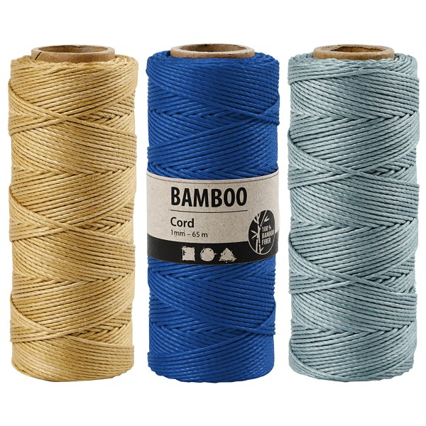 Bobine de ficelle de bambou - Couleurs au choix - 1 mm - 65 m - Photo n°1