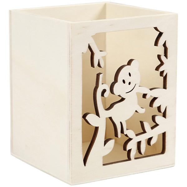 Pot à crayon en bois à décorer - Singe - 8 x 8 x 10 cm - Photo n°3