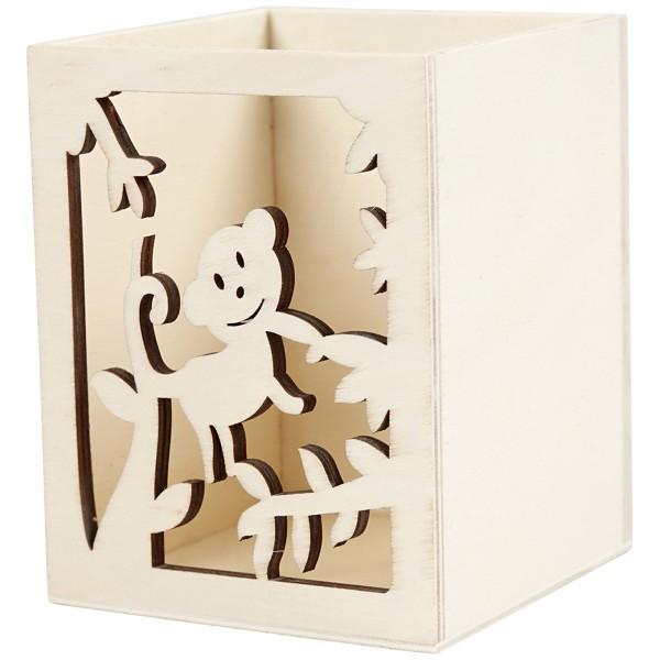 Pot à crayon en bois à décorer - Singe - 8 x 8 x 10 cm - Photo n°1