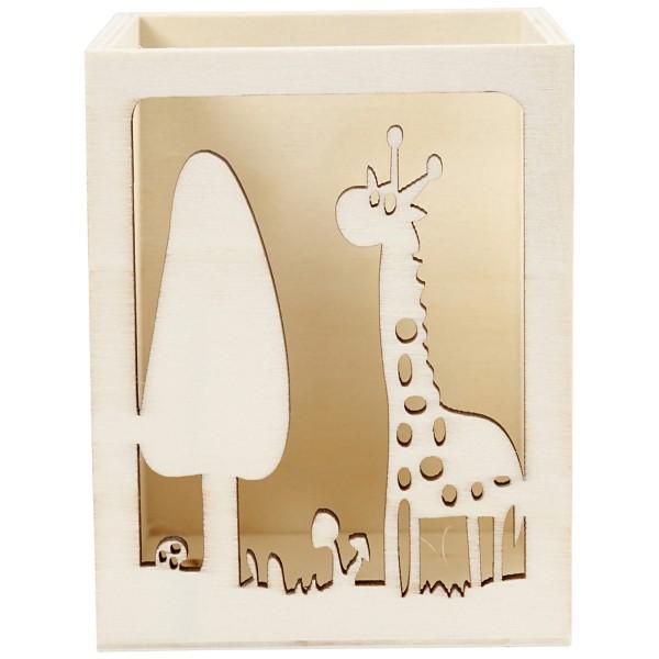 Pot à crayon en bois à décorer - Girafe - 8 x 8 x 10 cm - Photo n°2