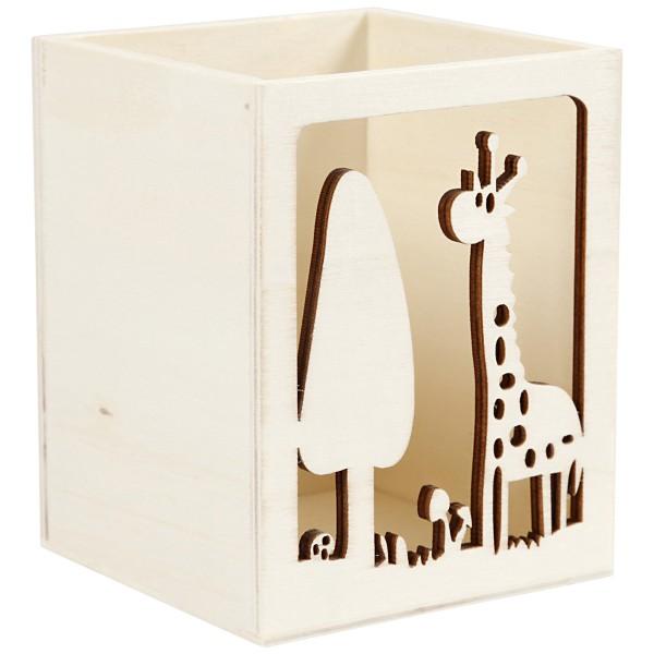 Pot à crayon en bois à décorer - Girafe - 8 x 8 x 10 cm - Photo n°3