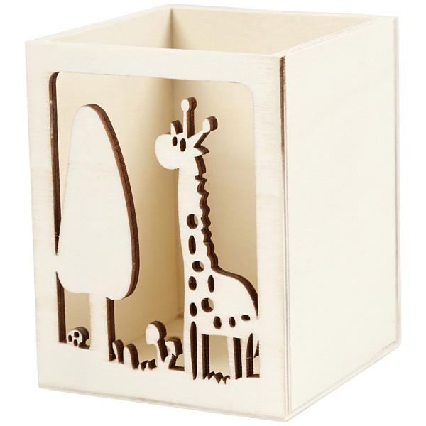 Pot à crayon en bois à décorer - Girafe - 8 x 8 x 10 cm - Photo n°1