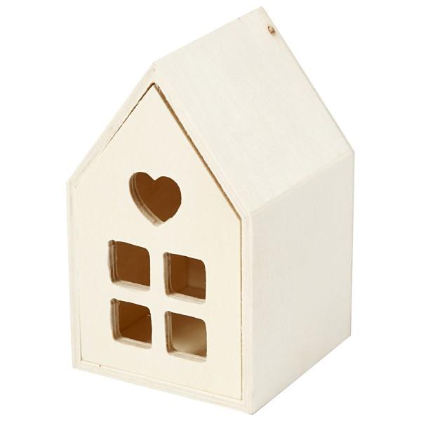 Petite maison en bois à décorer - 6,7 x 6,7 x 10,8 cm - Photo n°1
