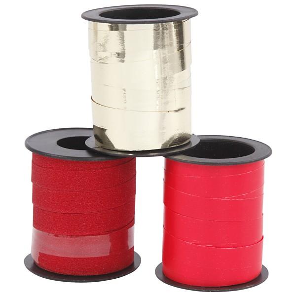Assortiment de bolduc - Rouge & Doré - 10 mm x 15 m - 3 pcs - Photo n°2