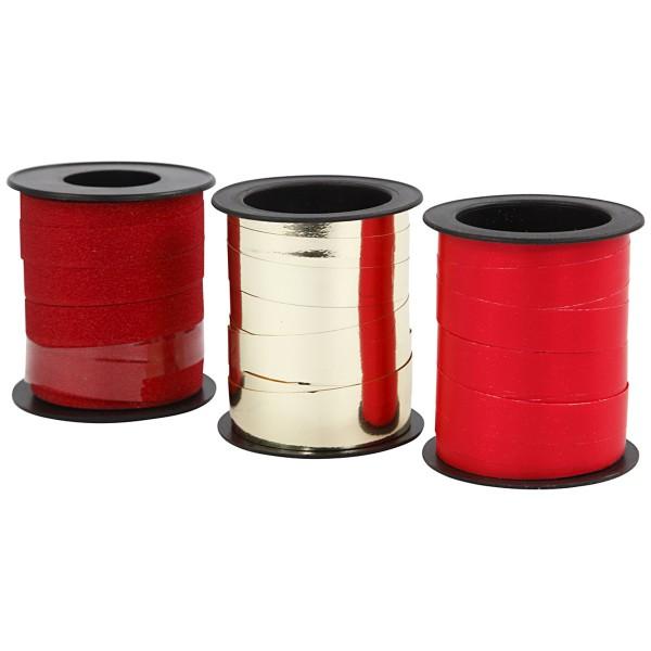 Assortiment de bolduc - Rouge & Doré - 10 mm x 15 m - 3 pcs - Photo n°3