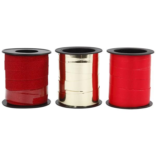 Assortiment de bolduc - Rouge & Doré - 10 mm x 15 m - 3 pcs - Photo n°1
