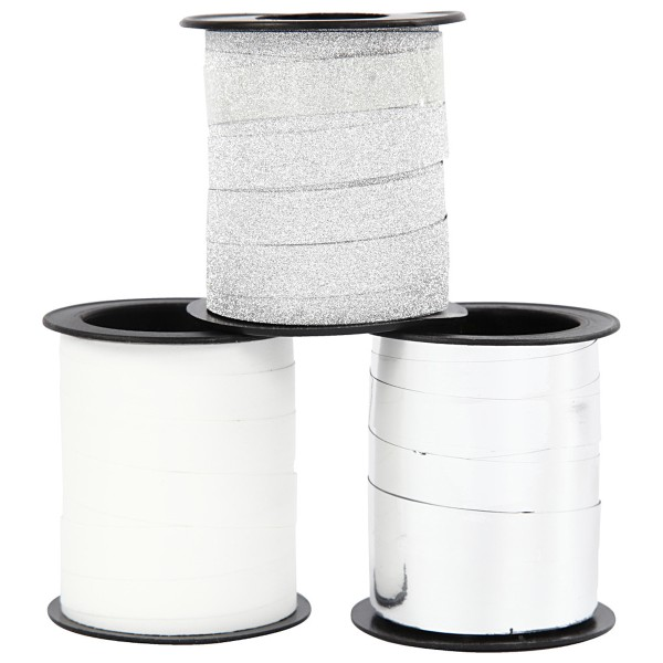 Assortiment de bolduc - Blanc & Argenté - 10 mm x 15 m - 3 pcs - Photo n°2