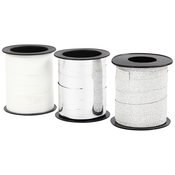 Assortiment de bolduc - Blanc & Argenté - 10 mm x 15 m - 3 pcs - Photo n°3