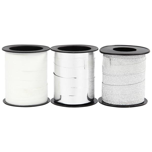 Assortiment de bolduc - Blanc & Argenté - 10 mm x 15 m - 3 pcs - Photo n°1