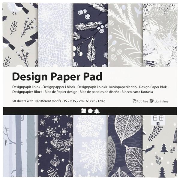 Papier scrapbooking Design - Hiver bleu - 15 x 15 cm - 50 feuilles - Photo n°1