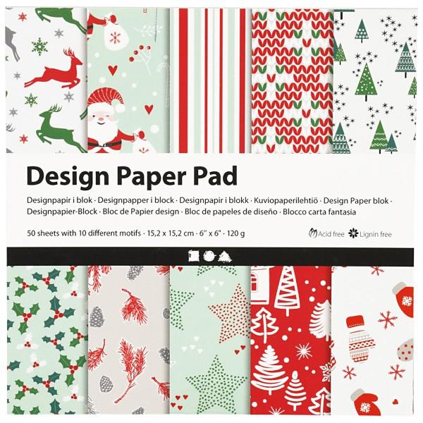 Papier scrapbooking Design - Noël - 15 x 15 cm - 50 feuilles - Photo n°1